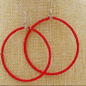 Red Bead Hoop Earrings Seed Bead Hoops New